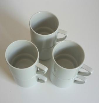 schleuderelli shop kaffeebecher 6 st ck 250ml wei stapelbar porzellan keramik becher tasse pott. Black Bedroom Furniture Sets. Home Design Ideas